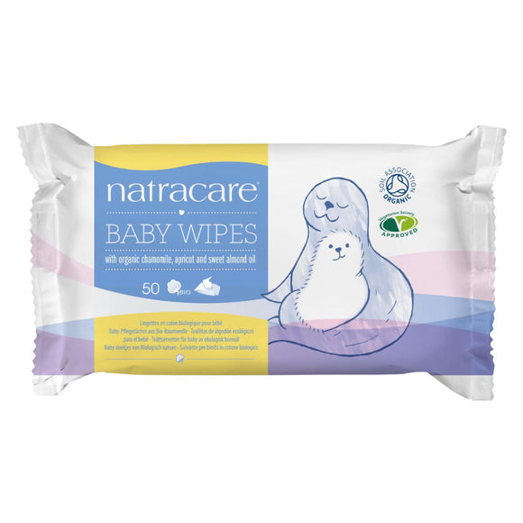 Natracare Organic Cotton Baby Wipes - 50 Pack Pack of 3