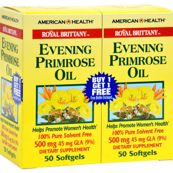 American Health - Royal Brittany Evening Primrose Oil Twin Pack - 500 Mg - 50+50 Softgels Pack of 3