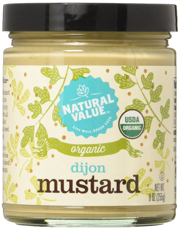 Natural Value Mustard - Organic - Dijon - Glass - Case of 12 - 9 oz
