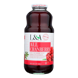 L and A Juice - All Cranberry - Case of 6 - 32 Fl oz.