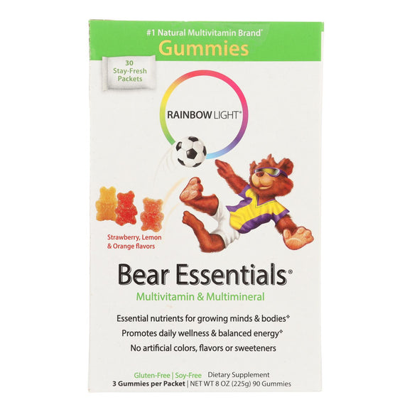 Rainbow Light Gummy Bear Essentials Multivitamin Multimineral Fruit - 30 Packets Pack of 3