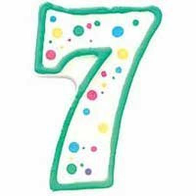 Numeral Candle 7 Green Pack of 6