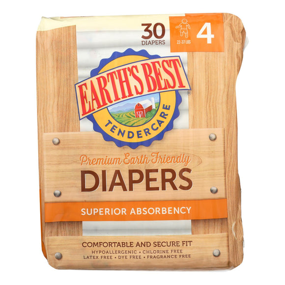 Earth's Best Tender care Chlorine Free Diapers - Size 4 - Case of 4 - 30 Count