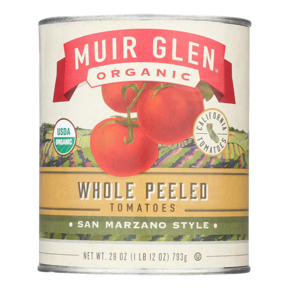 Muir Glen Peeled Whole Plum Tomatoes - Tomatoes - Case of 12 - 28 oz.