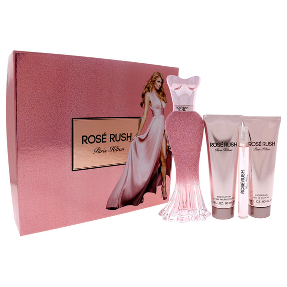 Rose Rush by Paris Hilton for Women - 4 Pc Gift Set 3.4oz EDP Spray, 3.0oz Body Lotion, 3.0oz Shower Pack of 3