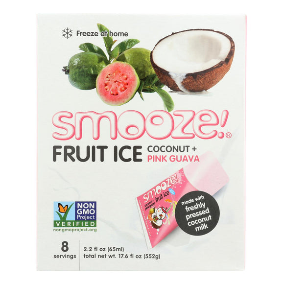 Smooz.e All Natural Fruit Ice - Pink Guava Coconut - Case of 12 - 17.6 Fl oz.