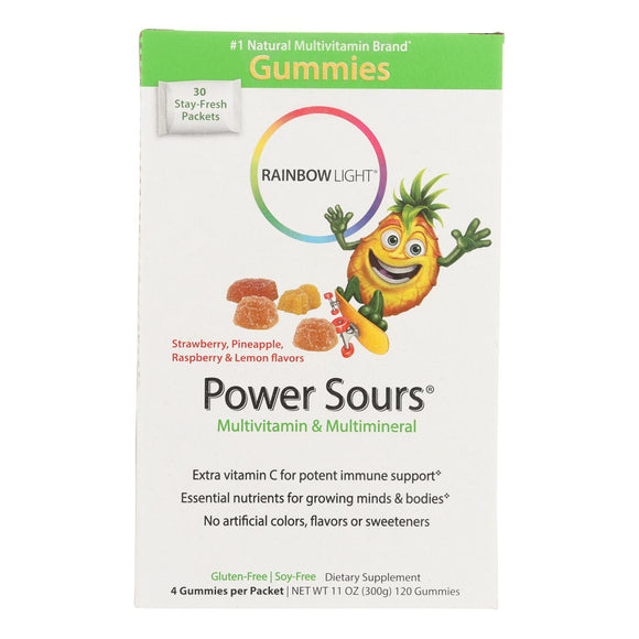 Rainbow Light Gummy Power Sours Multivitamin and Multimineral Sour Fruit - 30 Single Serve Packets Pack of 3