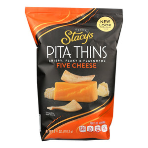 Stacy's Pita Chips 5 Cheese Pita Crisps - Cheese - Case of 8 - 6.75 oz.