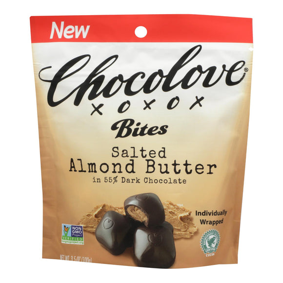 Chocolove Xoxox - Bites - Dark Chocolate Almonds and Sea Salt - Case of 8 - 3.5 oz.
