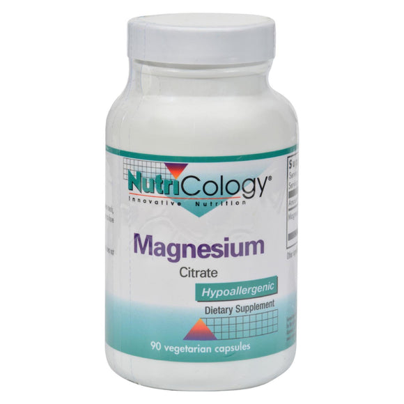 NutriCology Magnesium Citrate - 170 mg - 90 Capsules Pack of 3