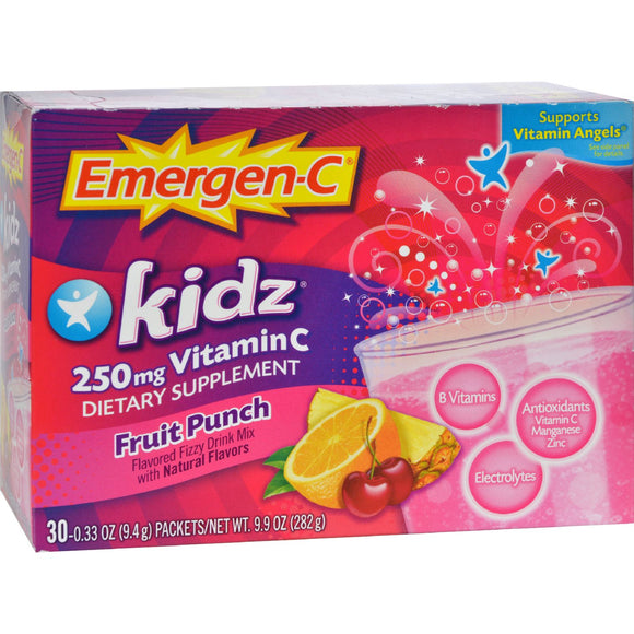 Alacer - Emergen-C Kidz Vitamin C Fizzy Drink Mix Fruit Punch - 250 mg - 30 Packets Pack of 3