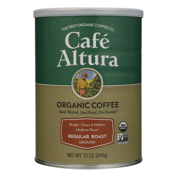 Cafe Altura - Organic Ground Coffee - Regular Roast - Case of 6 - 12 oz.