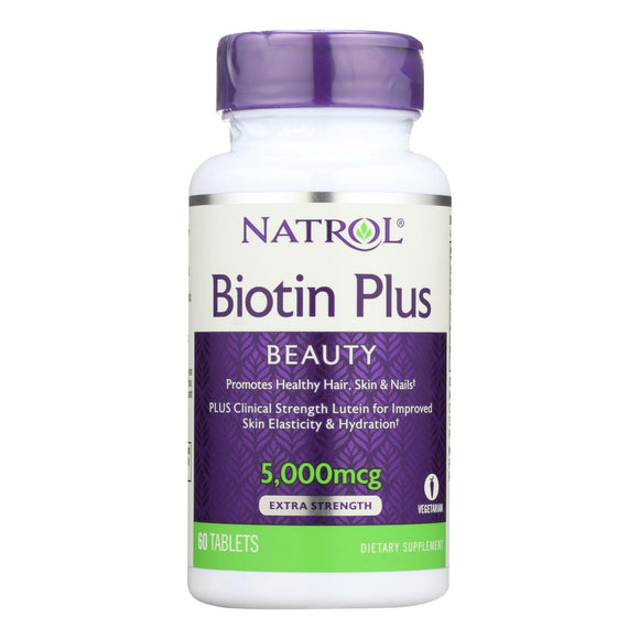 Natrol Biotin Plus with Lutein Capsules - 60 Count Pack of 3