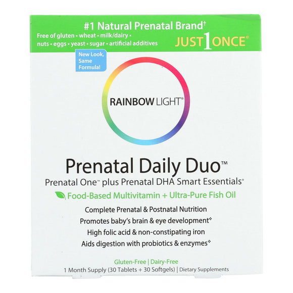Rainbow Light Prenatal One Multivitamin and DHA 250 Smart Essentials Combo - 30 Tablets and 30 Softgels Pack of 3