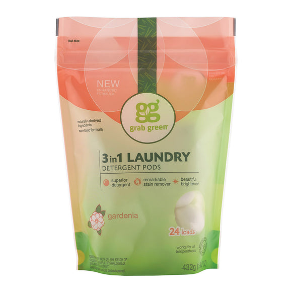 Grab Green Laundry Detergent - Gardenia - Case of 6 - 24 Count