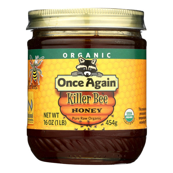 Once Again Killer Bee Honey, Pure Raw Organic Grade A  - Case of 6 - 1 LB