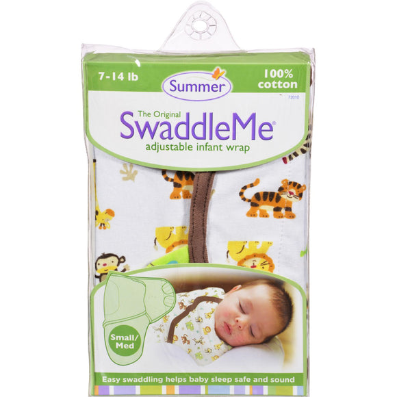 Summer Infant SwaddleMe Adjustable Infant Wrap - Small/Medium 7 - 14 lbs - Jungle White Pack of 3