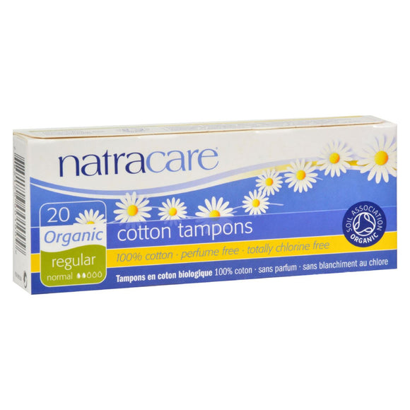 Natracare 100% Organic Cotton Tampons Regular - 20 Tampons Pack of 3