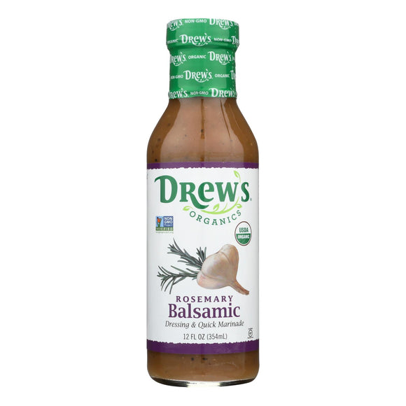 Drew's Organics Organic Dressing and Quick Marinade - Rosemary Balsamic - 12 Fl. Oz. - Case of 6