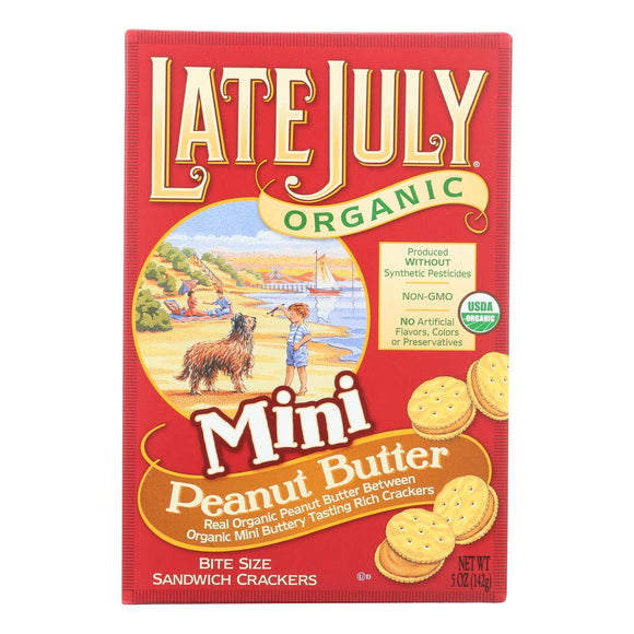 Late July Snacks Organic Mini Crackers - Peanut Butter - 5 oz. Pack of 3
