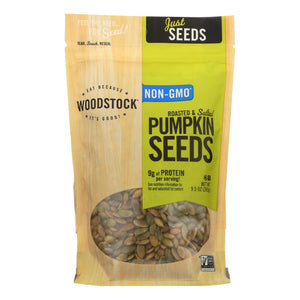 Woodstock Pumpkin Seeds - Roasted - Salted - Case of 8 - 9.5 oz.