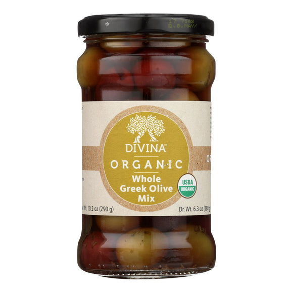 Divina - Organic Greek Mixed Olives - Case of 6 - 6.35 oz.