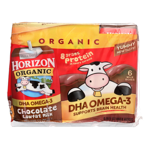Horizon Organic Dairy Milk - Organic - 1 Percent - Lowfat - Box - Chocolate - plus DHA Omega-3 - 6/8 oz - case of 3