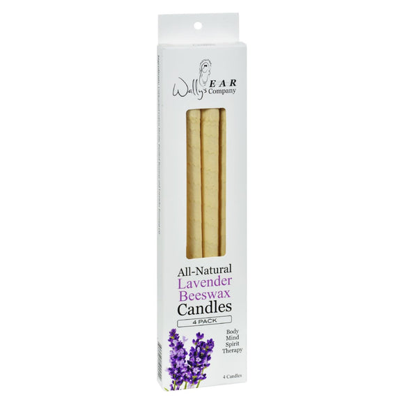 Wally's Natural Products Beeswax Candles - Lavender - 4 Pack Pack of 3