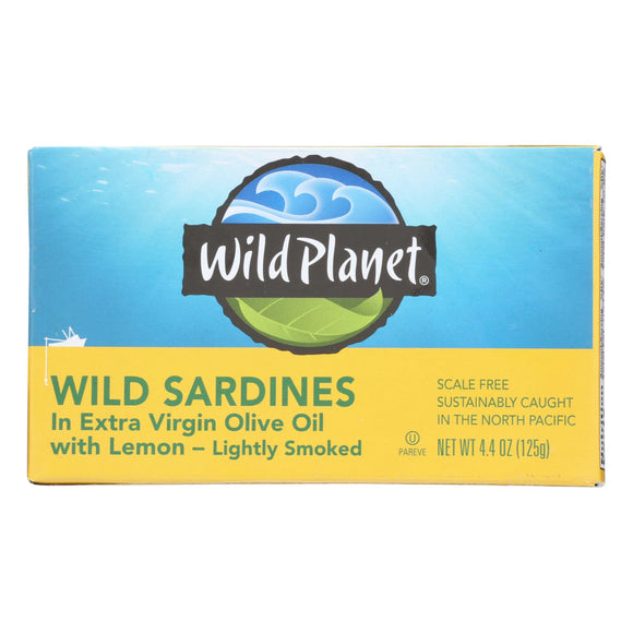 Wild Planet Sardines in Oil - Lemon - Case of 12 - 4.375 oz.