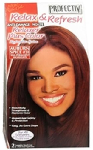 Profectiv Relax & Refresh Anti Damage No Lye Relaxer Plus Color Auburn Spice           Pack of 6