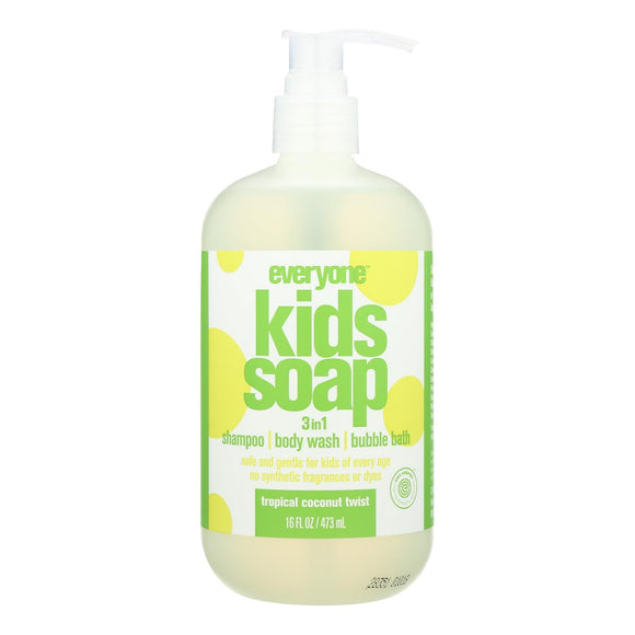 Everyone Kid Soap - Tropical Coconut Twist - Case of 1 - 16 fl oz. Pack of 3