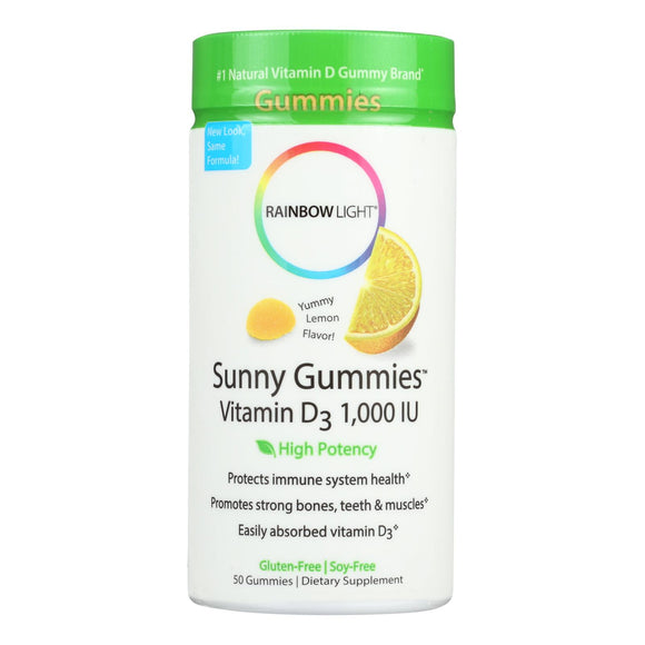 Rainbow Light Vitamin D Sunny Gummies Sour Lemon - 1000 IU - 50 Gummies Pack of 3