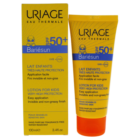 Bariesun Milk Lotion For Kids SPF 50 by Uriage for Kids - 3.4 oz Sunscreen Pack of 3