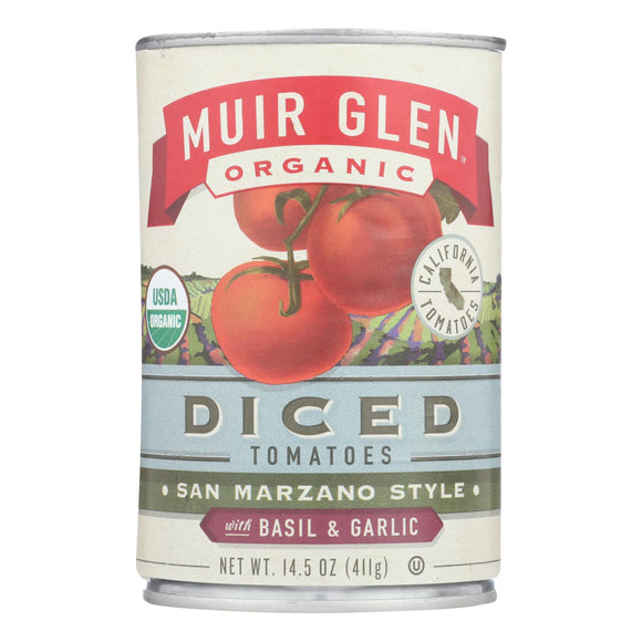 Muir Glen Diced Tomatoes Basil and Garlic - Tomato - Case of 12 - 14.5 oz.