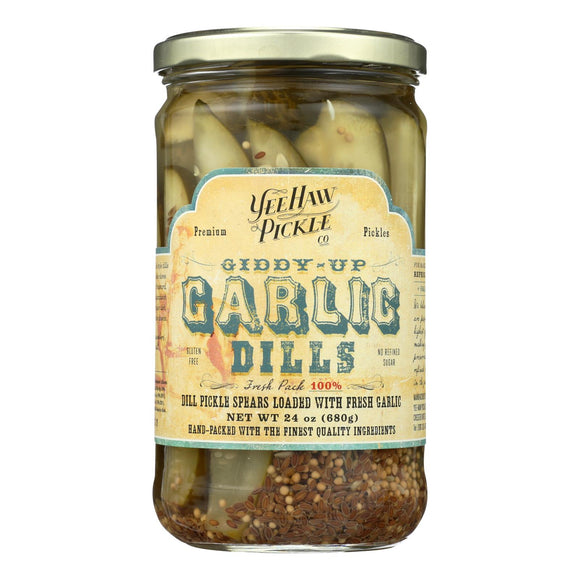 Yee-Haw Pickle Dills Pickle - Giddy Up Garlic - Case of 6 - 24 oz.