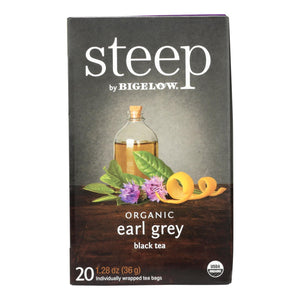 Steep By Bigelow Organic Earl Grey (Black Tea)  - Case of 6 - 20 BAGS