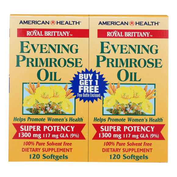 American Health - Royal Brittany Evening Primrose Oil Twin Pack - 1300 Mg - 120+120 Softgels Pack of 3