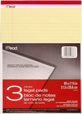 Legal Pad 8X11 3-50'S Perf06 Pack of 6