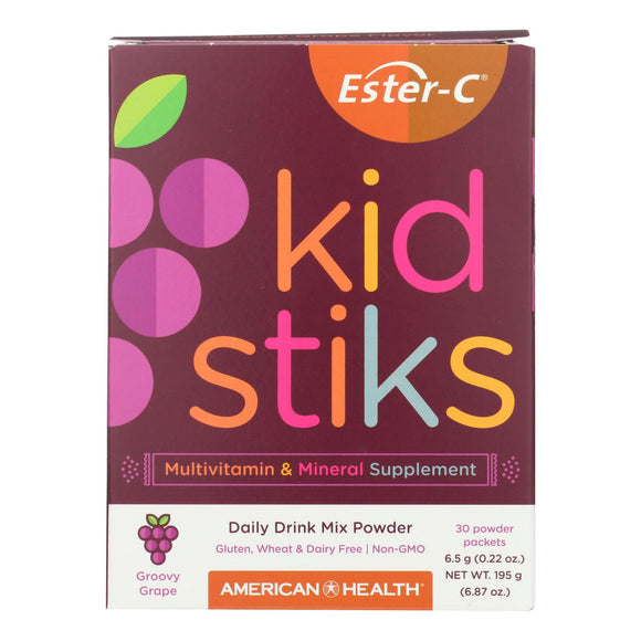 American Health - Ester-C - Kid Stiks - Groovy Grape - 30 Packets Pack of 3