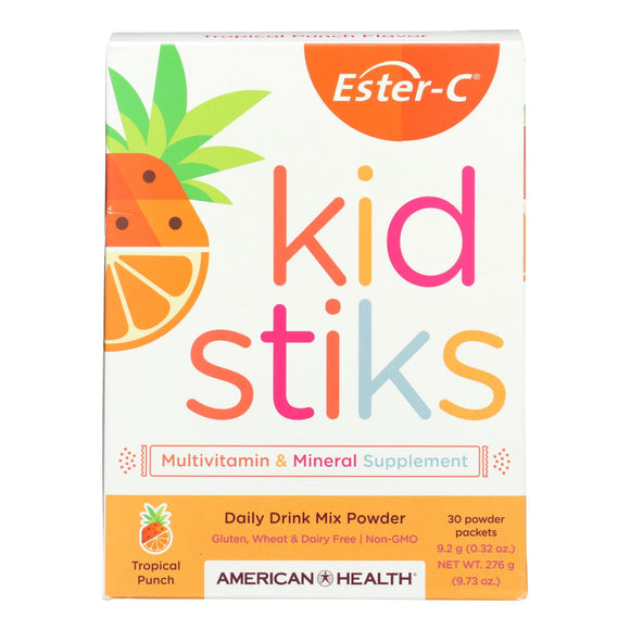 American Health - Ester-C - Kid Stiks - Tropical Punch - 30 Packets Pack of 3