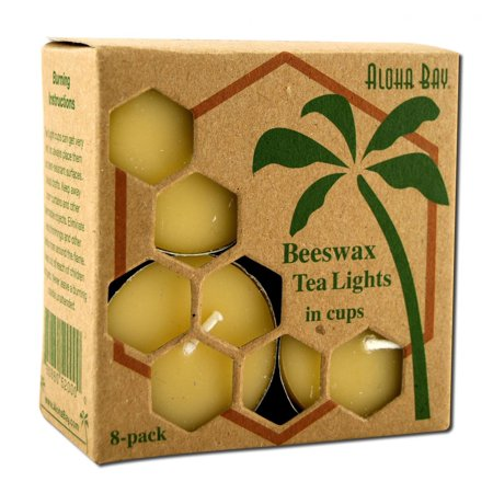 Aloha Bay - Beeswax Tea Light Candles  - 8 CT Pack of 3
