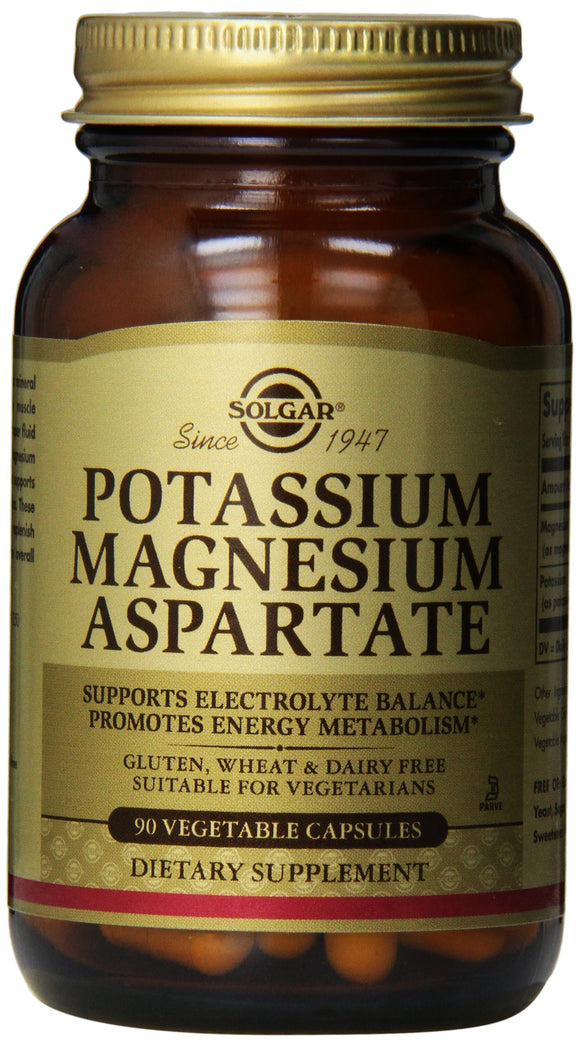 Potassium Magnesium Aspartate Vegetable Capsules 90 ct Pack of 3