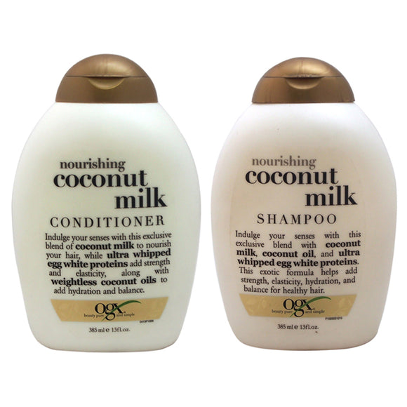 OGX Nourishing Coconut Milk Shampoo and Conditioner Kit by Organix for Unisex - 2 Pc Kit 13oz Shampo Pack of 3