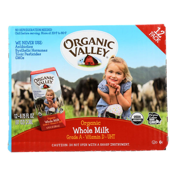 Organic Valley Single Serve Aseptic Milk - Whole - Case of 12 - 6.75oz Cartons Pack of 3