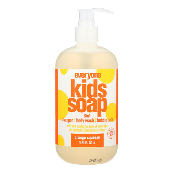 Everyone Kid Soap - Orange Squeeze - Case of 1 - 16 fl oz. Pack of 3