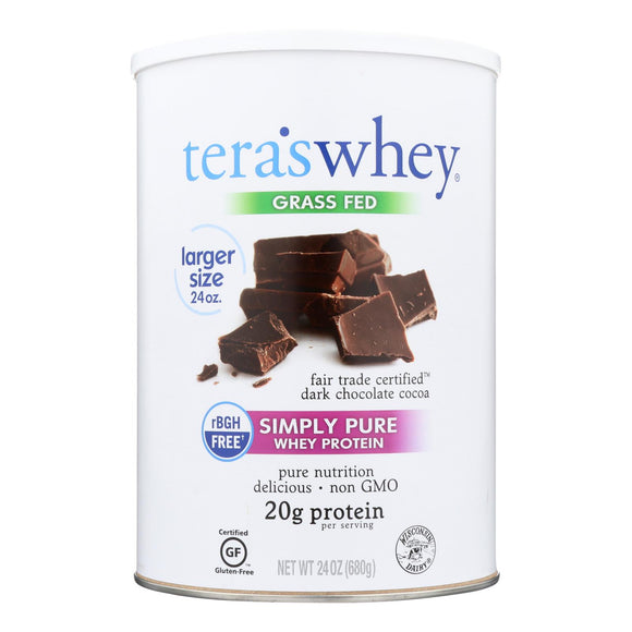 Tera's Whey Protein - rBGH Free - Fair Trade Dark Chocolate - 24 oz Pack of 3