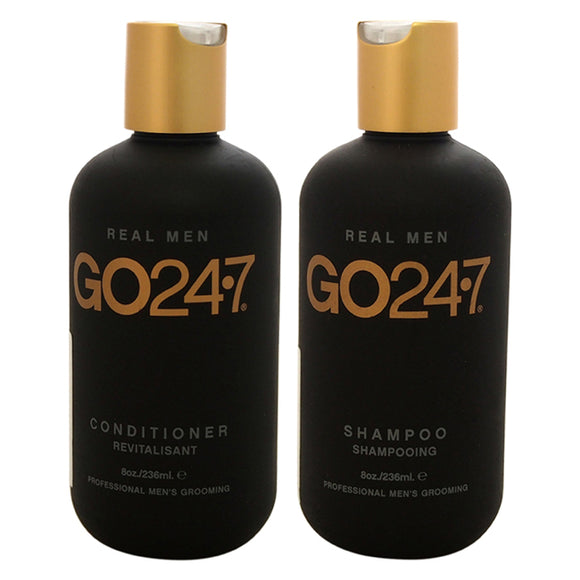 Real Men Shampoo and Conditioner Kit by GO247 for Men - 8oz Shampoo, 8oz Conditioner Pack of 3