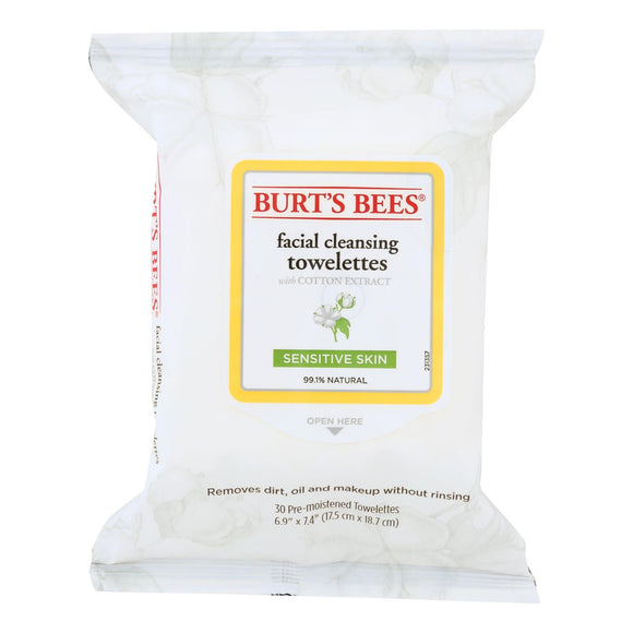 Facial Cleansing Towelettes Sensitive by Burts Bees for Unisex - 30 Pc Towelettes Pack of 3