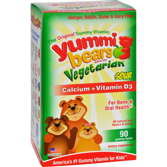 Hero Nutritional Products Yummi Bears Vegetarian Calcium with Vitamin D - Fruit Flavors - 90 Ct Pack of 3