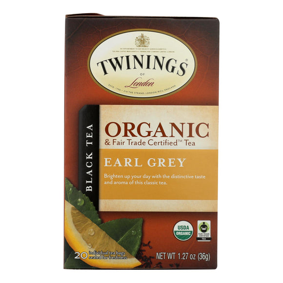 Twinings Tea - 100 Percent Organic - Earl Grey - 20 Bags - Case of 6 - 20 BAG